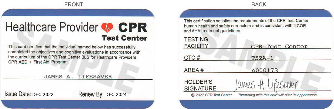 bls cpr test card certification national sample cards center training registry